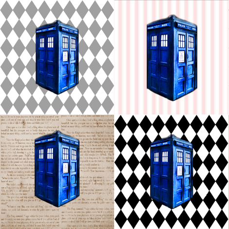 Doctor Who INspired TARDIS Quilt Blocks in Pink, Brown, Grey &amp; Black fabric by bohobear on Spoonflower - custom fabric