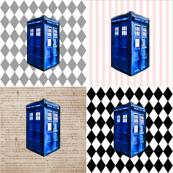 Doctor Who INspired TARDIS Quilt Blocks in Pink, Brown, Grey &amp; Black