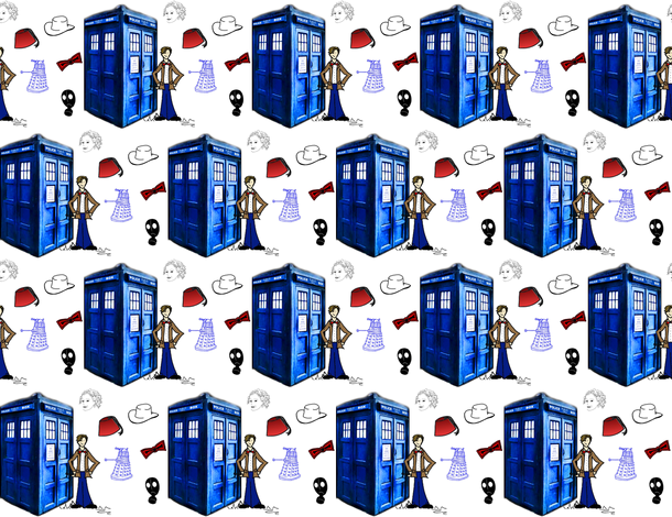 Doctor Who Inspired Police Box, Bow Ties, Fezzes, Stetson, Daleks River Song fabric by bohobear on Spoonflower - custom fabric