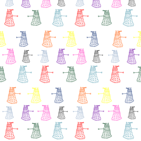 Doctor Who Inspired Rainbow Daleks fabric by bohobear on Spoonflower - custom fabric