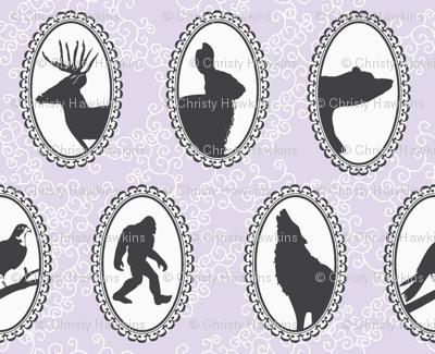 woodland creature cameos in lavendar