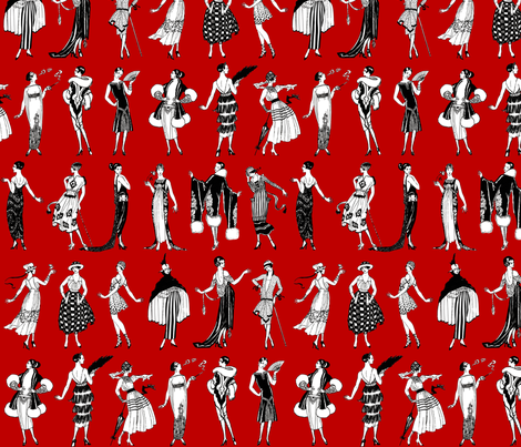 La Vie Parisienne - dark red fabric by jenithea on Spoonflower - custom fabric