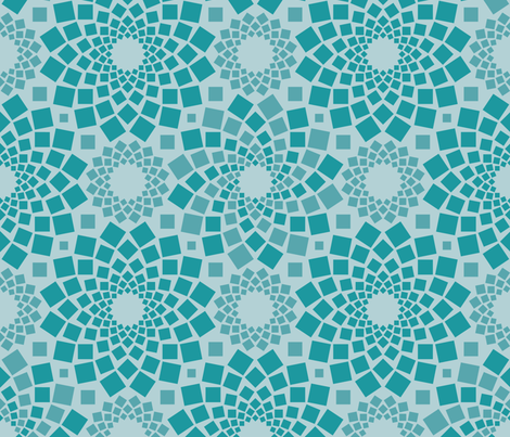 Kaleidoflowers (Teal) fabric by robyriker on Spoonflower - custom fabric