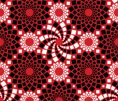Kaleidoflowers (Red, Black and White) fabric by robyriker on Spoonflower - custom fabric