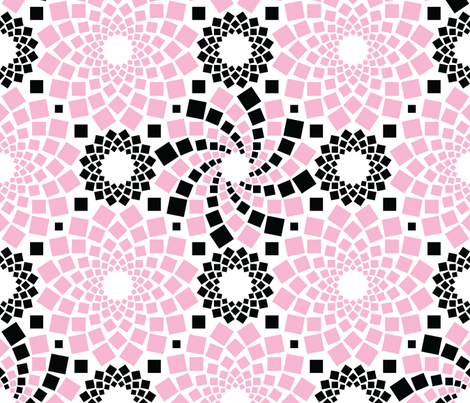 Kaleidoflowers (Pink, Black and White) fabric by robyriker on Spoonflower - custom fabric