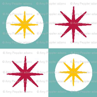 Atomic Blue || midcentury modern atomic stars starburst check checkerboard geometric