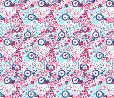 Flamingo Paradise Ocean Breeze fabric by johanna_lange_designs on Spoonflower - custom fabric