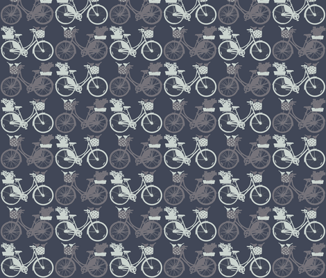 Bicycles on bluish grey fabric by katarina on Spoonflower - custom fabric