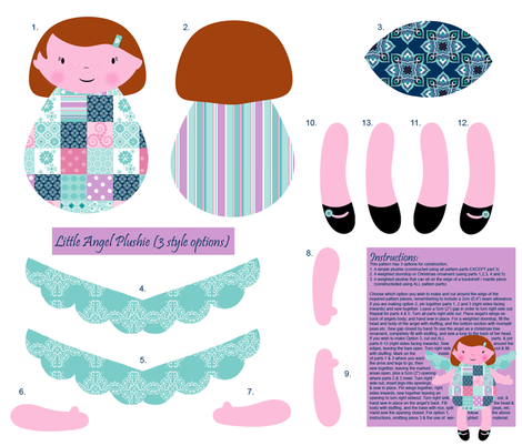 Little Angel Plushie (3 style options) fabric by delsie on Spoonflower - custom fabric