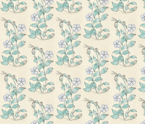 Vinca drawing - cloud colors fabric by mina on Spoonflower - custom fabric
