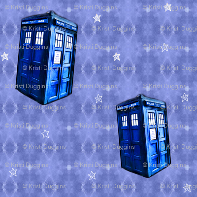Doctor Who Inspired TARDIS on Lavender Blue DNA Pattern