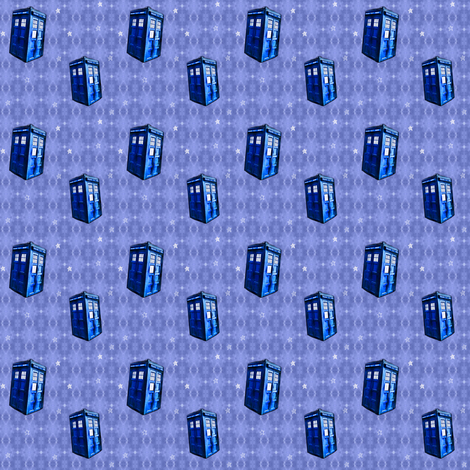 Doctor Who Inspired TARDIS on Lavender Blue DNA Pattern fabric by bohobear on Spoonflower - custom fabric