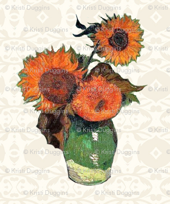 Van Gogh's Sunflowers -- Cream Background