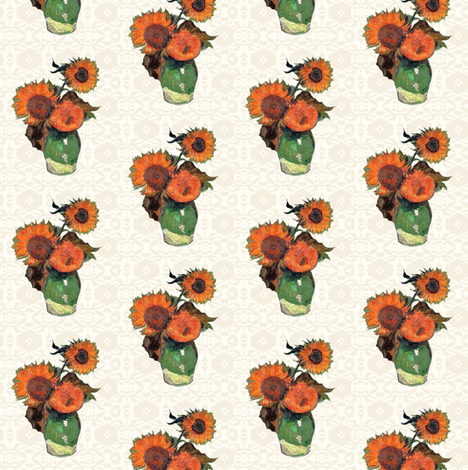 Van Gogh's Sunflowers -- Cream Background fabric by bohobear on Spoonflower - custom fabric
