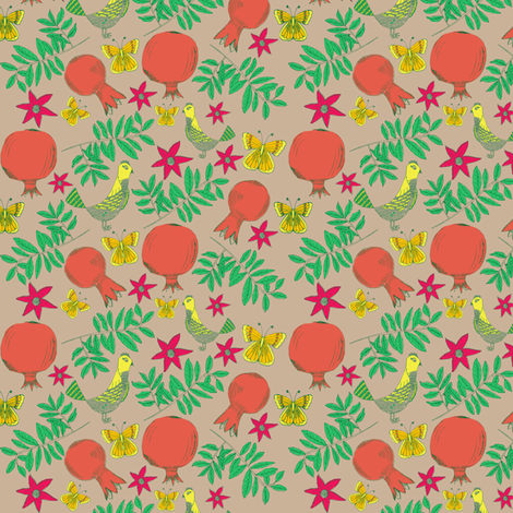 Pomegranate tree 2 fabric by sary on Spoonflower - custom fabric
