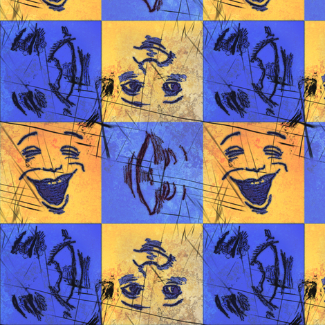 Happy Faces: Bright and Grungy -Large fabric by tallulahdahling on Spoonflower - custom fabric