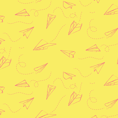 paper_aeroplanes_flying_yellow fabric by owls on Spoonflower - custom fabric