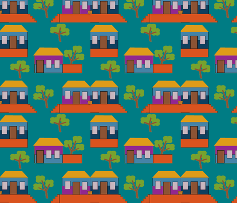 casitas midnight fabric by jokers_r_wild on Spoonflower - custom fabric