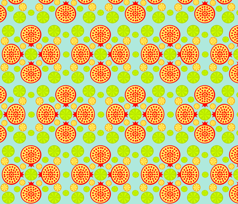 Pomegranate Lime fabric by ninjaauntsdesigns on Spoonflower - custom fabric
