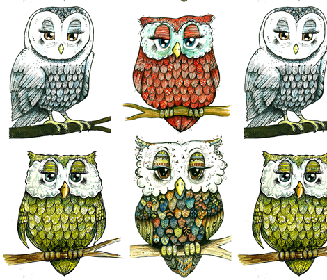The Four Owls fabric by taraput on Spoonflower - custom fabric