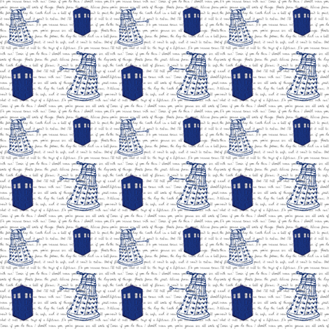 Doctor Who Inspired TARDIS + Daleks on Quote Background