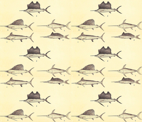 Swordfish & Sailfish fabric by flyingfish on Spoonflower - custom fabric