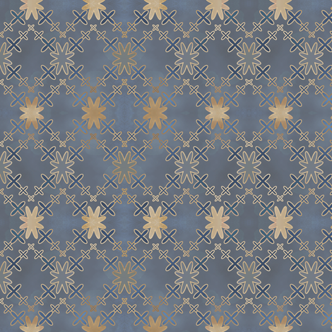 Orion's Cross in blue vintage fabric by fridabarlow on Spoonflower - custom fabric