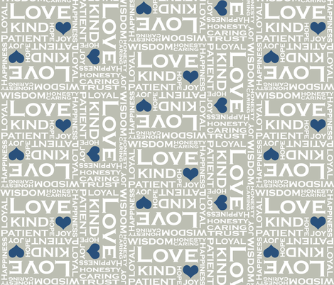 Love is Everything in Gray and Blue fabric by fridabarlow on Spoonflower - custom fabric