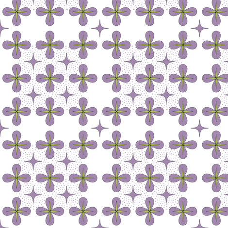 4 Petal Daisies in Lavender fabric by fridabarlow on Spoonflower - custom fabric