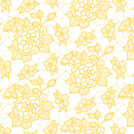 Gold lace flower on white fabric by victorialasher on Spoonflower - custom fabric