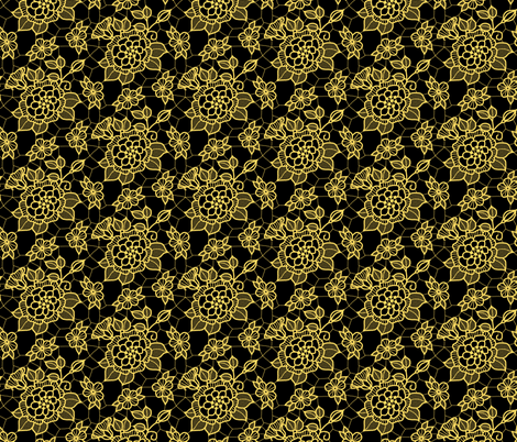Gold lace flower on black fabric by victorialasher on Spoonflower - custom fabric