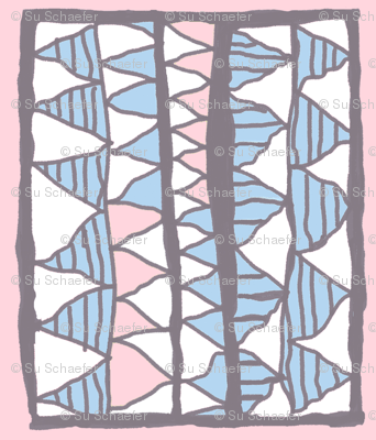 Meg's top: blue and white on pink, small
