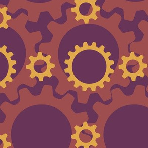 Gears in Purple Orange Yellow