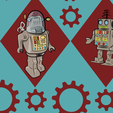 Robots in Blue and Red fabric by indelibleink on Spoonflower - custom fabric