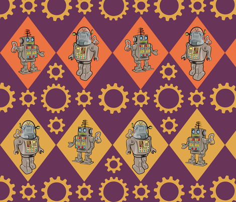 Robots in Purple Orange Yellow fabric by indelibleink on Spoonflower - custom fabric