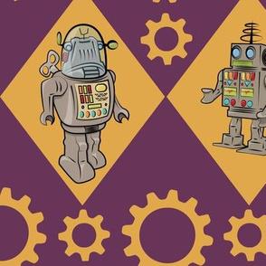 Robots in Purple Orange Yellow