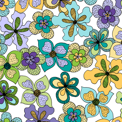 Funky Fantasy Flowers - Cool Spring on White (Large) fabric by rhondadesigns on Spoonflower - custom fabric