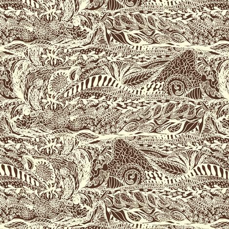 Organic Landscape - Cream on Chocolate. fabric by rhondadesigns on Spoonflower - custom fabric