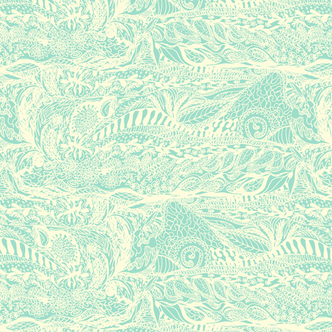 Organic Landscape - Cream on Mint. fabric by rhondadesigns on Spoonflower - custom fabric