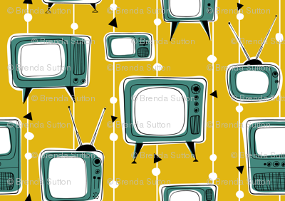 Retro Televisions Mustard/Teal Green