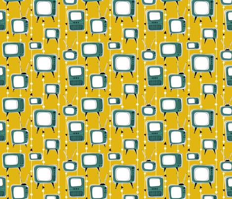 Retro Televisions Mustard/Teal Green fabric by gobennygo on Spoonflower - custom fabric