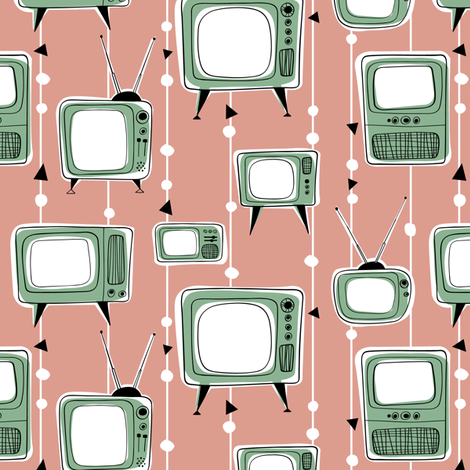 Retro Televisions Dusty Pink/Mint fabric by gobennygo on Spoonflower - custom fabric