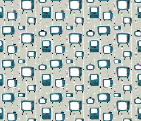 Retro Televisions Grey/TealBlue fabric by gobennygo on Spoonflower - custom fabric