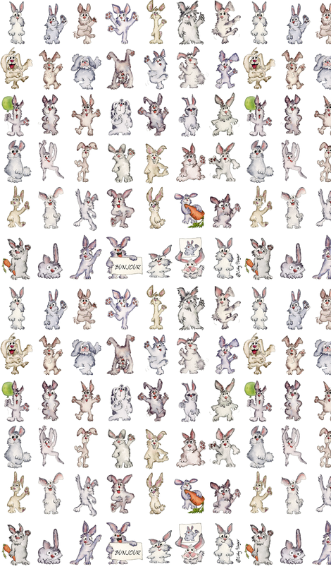 42 Cute Cartoon Rabbits Bunjour fabric by lillyarts on Spoonflower - custom fabric