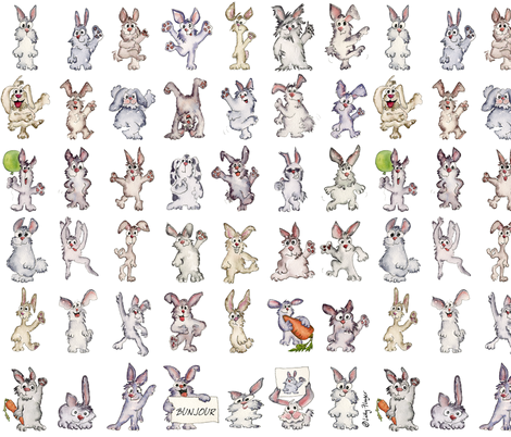 42 Cute Cartoon Rabbits Say Bunjour fabric by lillyarts on Spoonflower - custom fabric