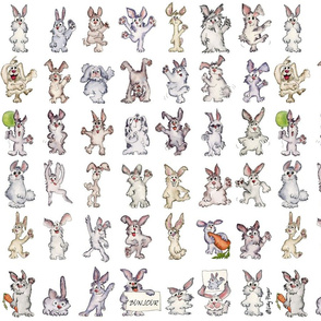 42 Cute Cartoon Rabbits Say Bunjour