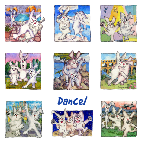 Cute Cartoon Rabbits Dance!  fabric by lillyarts on Spoonflower - custom fabric