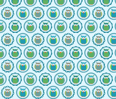 Fogies blue fabric by drafoeki on Spoonflower - custom fabric