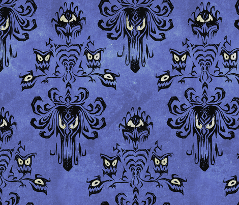 Haunted Mansion in detail with texture fabric by mellymellow on Spoonflower - custom fabric