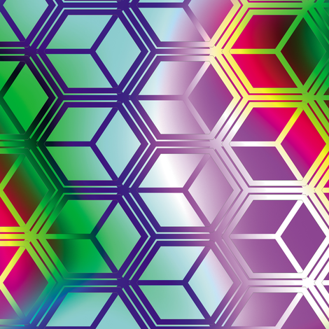 Honeycomb Rainbow 3 fabric by animotaxis on Spoonflower - custom fabric